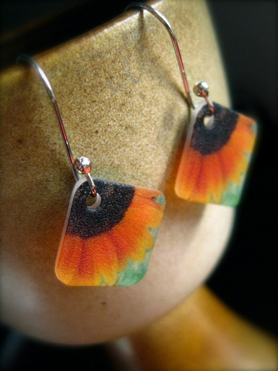 sunflower earrings - plastic wearable art - shrinky dink jewelry