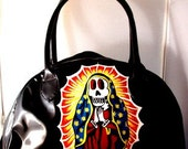 day of the dead guadalupe hand painted patent handbag