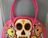 Day of the dead Voodoo neon n pink handbag
