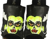 bride of frankenstein hand painted shoes color