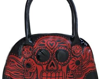 Day of the dead Voodoo black n red handbag