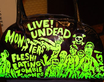 zombie attack black hand painted patent handbag