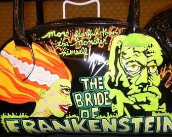 Bride of Frankenstein hand painted handbag