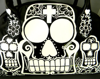 day of the dead white sugar skulls  hand painted black patent bag