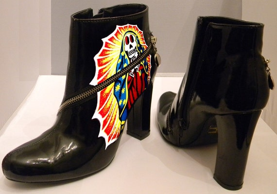 Day of the dead hand painted patent leather boots