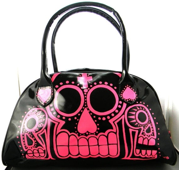 day of the dead hot evil  pink on black  hand painted handbag