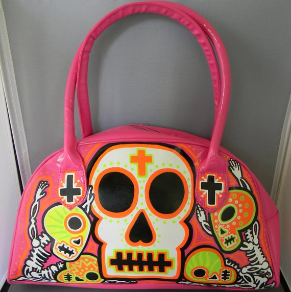 Day of the dead Voodoo neon n pink handbag