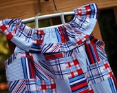Girl's Ruffle Dress, Patriotic Madras, Sizes 6y to 12y