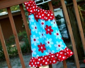 Girl's One-Shouldered Asymetrical Dress, Michael Miller Lil' Plain Jane Aqua and Red, Sizes 6Y to 12Y