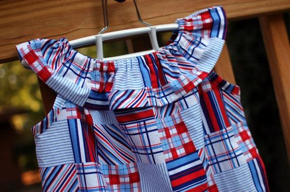 Girl's Ruffle Dress, Patriotic Madras, Sizes 6y to 12y