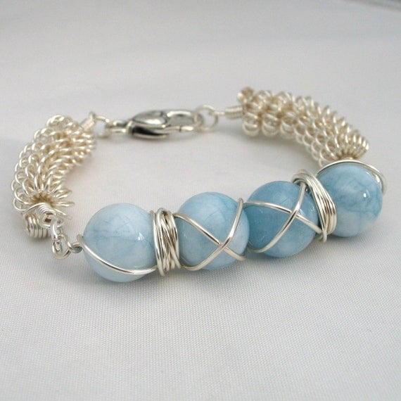 Blue Bracelet Aqua Gemstone Bracelet Wire Wrapped Blue and Silver Coiled Wire