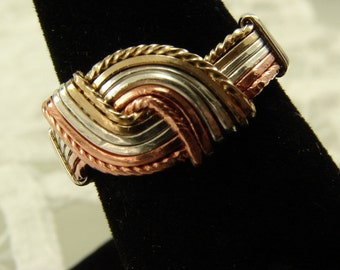 Tri Metal Hug Ring (Sterling  Slver, Copper, and Gold filled wires) Mixed Metal Ring, Hug Ring, Wire Wrapped Ring