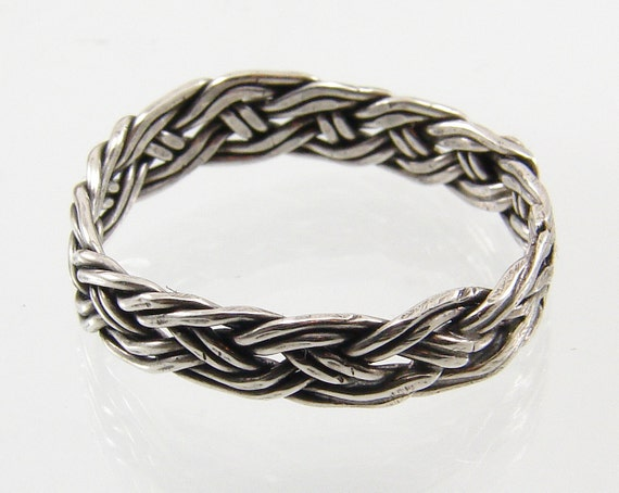 Handwoven Sterling Silver Ring or Toe RIng - Sterling Silver Band Ring, Sterling Silver Toe Ring