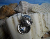 Locket Personalized Hammered Metal Cupped Swarvoski Crystal Charm Heart Necklace Uniquely Impressed