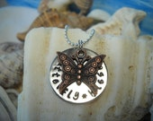 Butterfly Kisses Daddys Girl Daughter Mommy Metal Jewelry Disc Necklace Hammered Uniquely Impressed