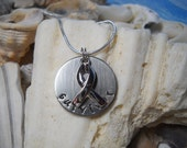 Awareness Survivor Ribbon Cancer Cause Personalized Hammered Jewelry Necklace Uniquely Impressed