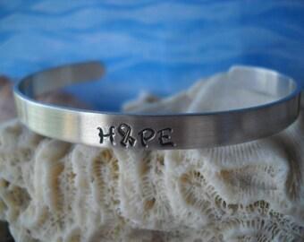 Hope Bracelet Cuff Inspiration Cancer Survivor Ribbon Hashtag Hammered Metal Bracelet Uniquely Impressed