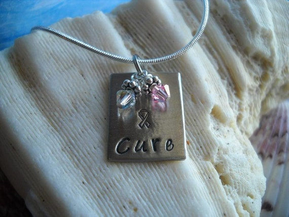 Cure Awareness Pink Survivor Support  Awareness Charm Metal Hammered Personalized Necklace Uniquely Impressed