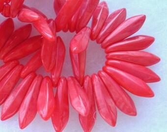 LAST LOT Czech Glass Dagger Beads in Pretty Coral (15)  (CGDC101)