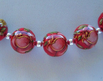 NEW Lovely Japanese Tensha Beads Pink Rose on Red 10 MM