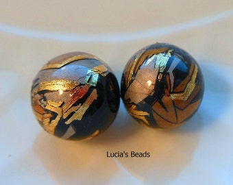 NEW Gorgeous Pair Gold Blush on Black Japanese Tensha Beads 12 MM