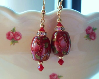 NEW Gorgeous Pink Rose on Wine Japanese Tensha Bead Earrings