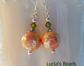 NEW Gorgeous  Pink and Peach Blossom on Pearl 12 MM Japanese Tensha Bead Earrings
