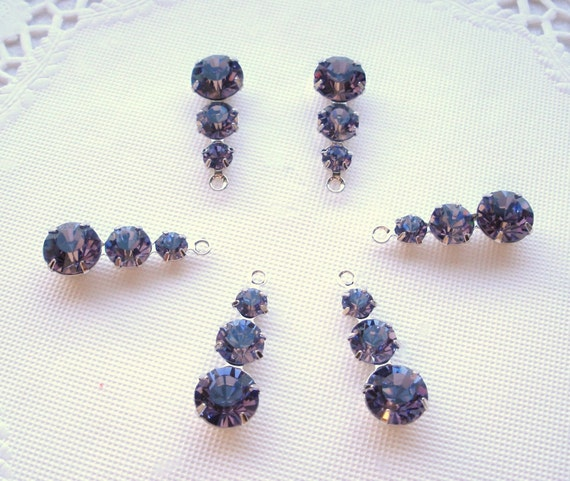NEW BEAUTIFUL Set of Swarovski Crystal 3 Stone Components in Tanzanite (6)
