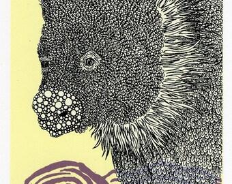 Baby Wombat Screenprint