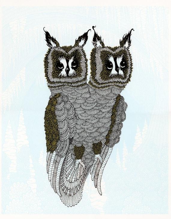 Double Headed Owl Screenprint 18x24