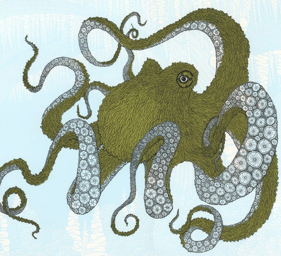 Blue and Green Octopus Screenprint 22x30
