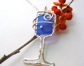 Wine Glass Jewelry -recycled wine bottle glass - SIMPLE SIPPING in BLUE