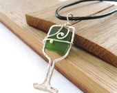 Wine Glass Necklace // Jewelry - Recycled wine bottle glass on leather cord - SIMPLE SIPPING in GREEN