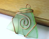 RECYCLED Wine bottle Aqua Glass Pendant wrapped in COPPER wire OOAK