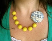 Yellow beaded fabric flower necklace clip brooch pin Design Your Own