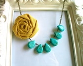 Yellow and Turquoise fabric flower statement necklace