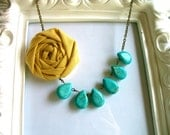 Turquoise and yellow fabric flower necklace