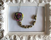 READY TO SHIP Bird On A Wire fabric flower necklace beaded rosette