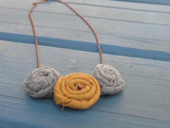 Pumpkin spice latte fabric rosette statement necklace