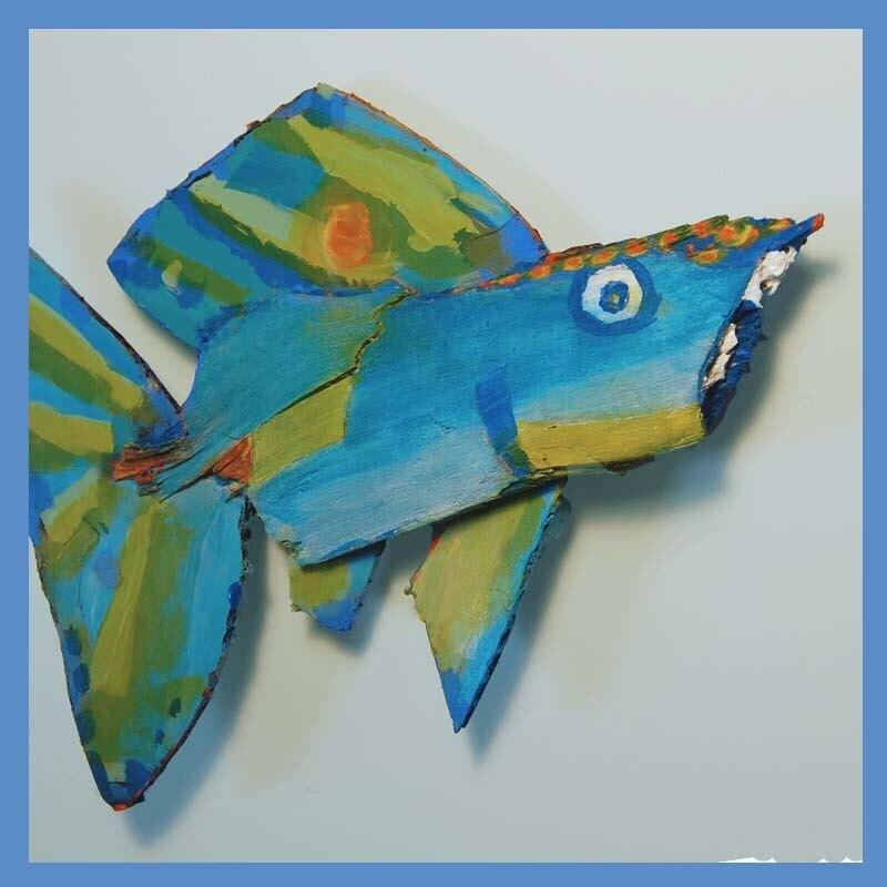 Fish Whimsical Art Colorful Hanging Wall Decor Original