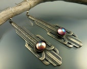 Vintage Silver Art Deco Earrings with Pink Glass Cabachons