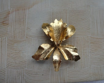 Goldtone Orchid Brooch