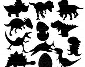 Dino Silhouettes Digital Clipart Set - Personal and Commercial Use - Scrapbooking, card design, web design
