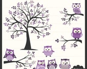Owl Digital Clipart and Tree Digital Clipart Set in Purple and Grey - Personal and Commercial Use -  Scrapbooking, card design, web design