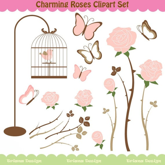 Charming Roses Digital Clipart Set - Personal and Commercial Use - Scrapbooking, card design, web design