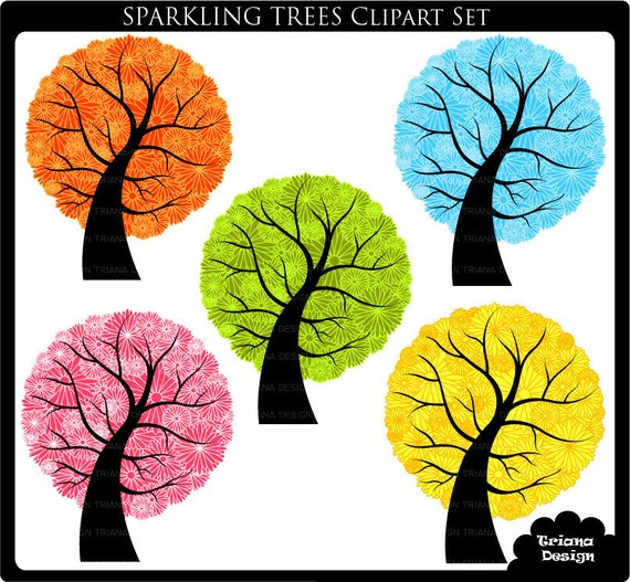 Sparkling Trees Digital Clipart Set - Personal and Commercial Use - Scrapbooking, card design, web design