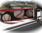 keychain wristlet. baseball keyfob - take me out to the ball game in red