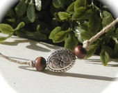 Wish Bracelet - Silver Oval with Brown Wood Beads