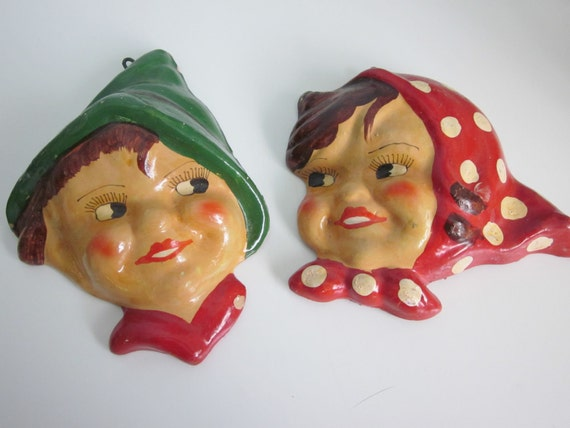 Old World Boy and Girl Kitchen Kitsch Painted Wall Hangings. Too Cute.
