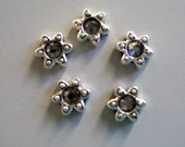 10 Swarovski Double Hole Sliders Black Diamond Star Flower Shape - CLEARANCE